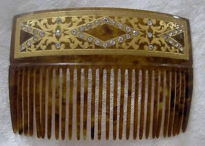 Antique hair comb celluloid Victorian, 22K gold accents& rhinestones,signed G.W.