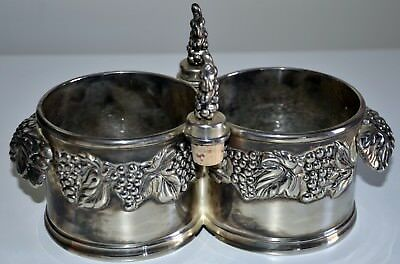 Very Rare And Unusual Pewter Double Wine Bottle Stand Or Coaster