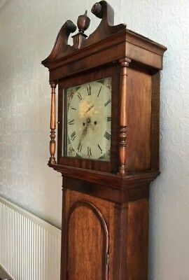 Oak & Mahogany 8 Day Longcase Grandfather Clock with square painted face