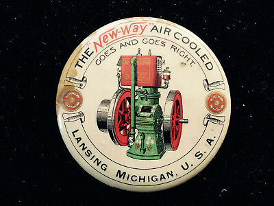 Vintage ~ New Way Air Cooled Hit Miss Engine ~ Advertising Pocket Mirror
