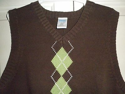 Gymboree 5 6 Sweater Vest NEW Brown V Neck Cotton Green White Argyle Pullover