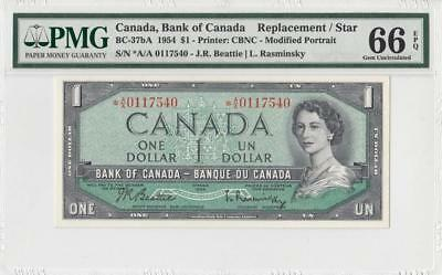 "1954 Bank Of Canada Qeii $1 **star Note** ""a/a"" (( Pmg 66 Epq ))"