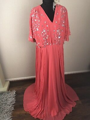 ASOS SEQUIN MAXI VINTAGE KIMONO RED CARPET GATSBY FLAPPER EVENING DRESS 3d 16