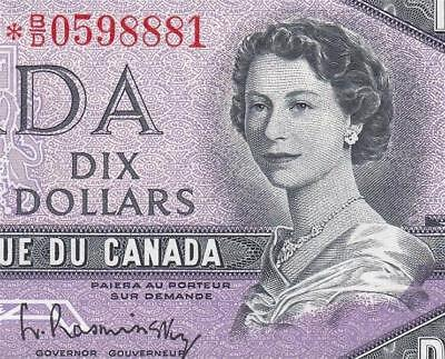1954 Bank Of Canada Qeii $10 **star Note** (( Gem Unc ))