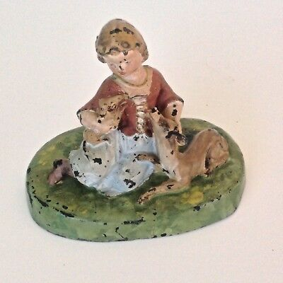 """Antique Cast Iron peasant child girl with Doe sheep Puppy original old paint 4"""""""