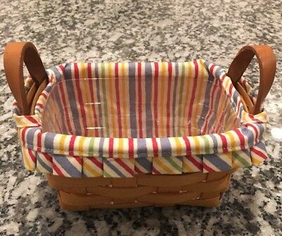 LONGABERGER Classic Tea/Key Basket w/ Fabric Liner and protector •1995•Signed