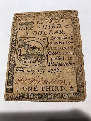 """Colonial Currency-Fugio Note By Ben Franklin 1/3 dollar RARE style """"B"""" note 1776"""