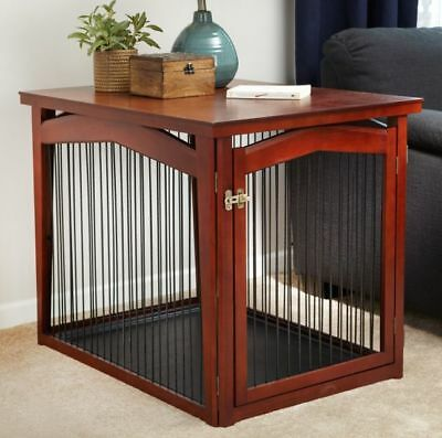 2-in-1 Configurable Dog Crate and Gate Elegant End Table Wood Mahogany Look