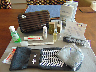 THAI AIRWAYS First Class RIMOWA Amenity Kit BROWN Trousse Neceser Kulturbeutel