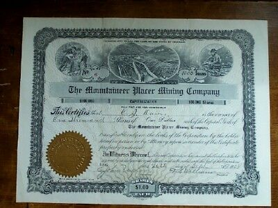 1908 Mining Stock Certificate The Mounaineer Placer Mining CO Colorado