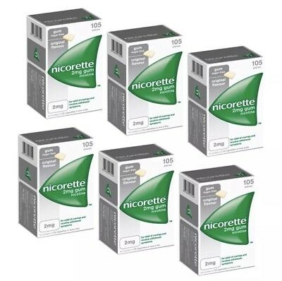 Nicorette Chewing Gum 2mg Original - 105 Pieces -PACK OF 6 (total 630 gum)