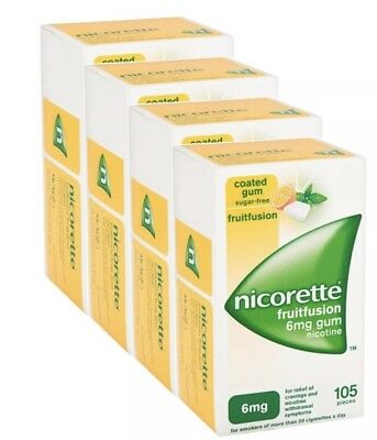 4 x Nicorette Fruitfusion Gum 6mg 105 Pieces Nicotine...total 420pc