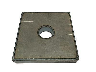 "Steel Bracket Plate, 1/4"" x 2'' x 2"" with a 7/8'' hole, A36 steel"