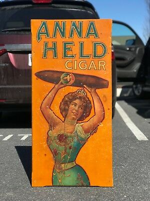 1890s Anna Held Cigar advertising trade sign only one known RARE americana