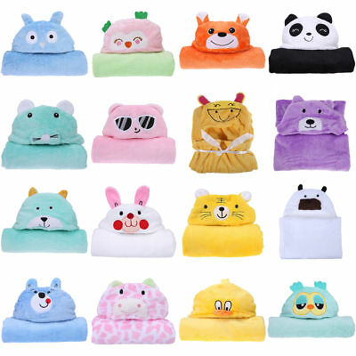 Infant Newborn Warm Soft Coral Fleece Hooded Bath Towel Kids Robe Sleep Blankets