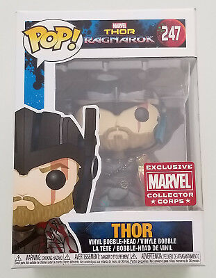 Funko Pop! Thor Ragnarok THOR 247 Marvel Collector CORPS Exclusive W Protector