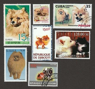 POMERANIAN **Unique Int'l Dog Postage Stamp Collection ** Great Gift **