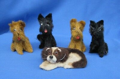 Vintage 5 Miniature Toy Dogs with Solid Bodies and Course Fur Inc. 2 Scotties