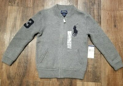 Boys grey and navy Ralph Lauren Polo knit sweater size 5T new with tags