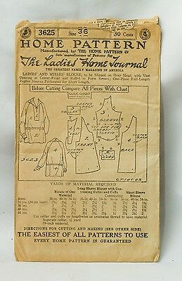 RARE 1920s Home Pattern #3625~Blouse~Ladies Home Journal~SZ 36