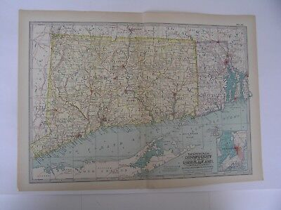 ANTIQUE MAP OF CONNECTICUT And RHODE ISLAND From the Century Atlas of the World
