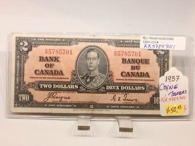 1937 Canada two Dollars Banknote-Coyne Tower VF-15 KR5785701