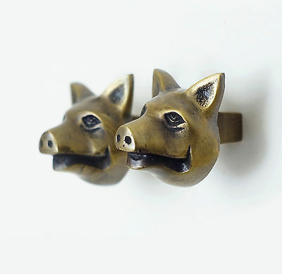 Set 2 pcs vintage Solid Brass PIG piggy Head Farm Drawer Door Brass KNOB Pulls