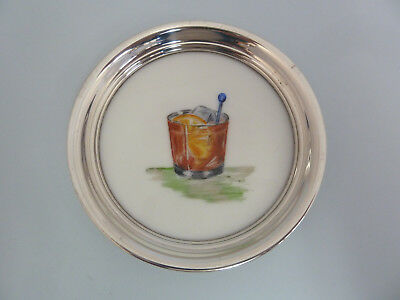 SOLID Sterling Silver Rimmed 'Old Fashioned' COCKTAIL Drinks COASTER. American.