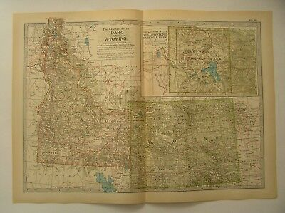 ANTIQUE MAP OF IDAHO and WYOMING  From the Century Atlas of the World 1911 Ed.