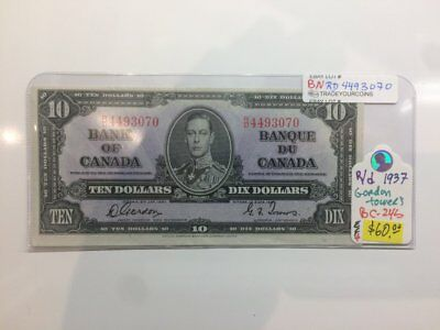1937 Bank of Canada 10 Dollars Banknote Gordon Towers BNRD4493070