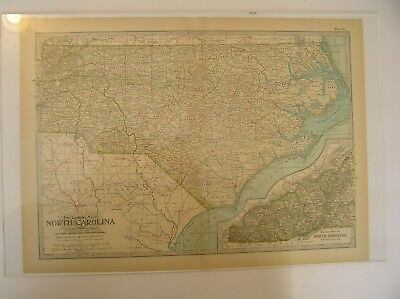 ANTIQUE MAP OF NORTH CAROLINA, From the Century World Atlas, 1911 Edition