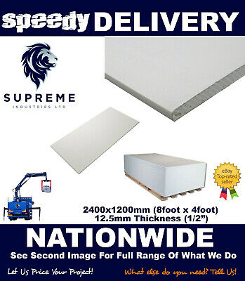 Plasterboard 8x4 (2400x1200) 12.5mm Thickness Square Edge MULTIPLE QUANTITIES