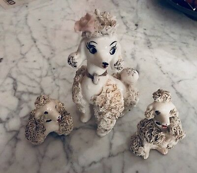 Vintage Mother Spaghetti Poodle + 2 Puppies  Ceramic Figurines