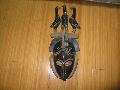 Vintage African Hand Carved Wood Tribal Mask with Perched Birds