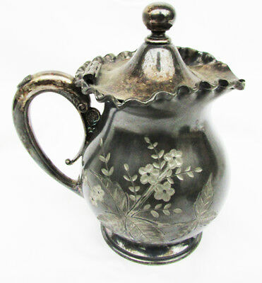 """Wilcox silverplate pitcher hinge lid quadruple plate antique 6"""" etched ruffled"""