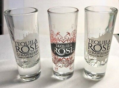 Set of 3 Tequila Rose Tall Shot Glasses Strawberry Cream + Red Logo EUC