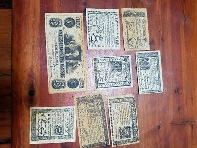 Colonial & Revolutionary Currency Shillings Dollars -8 Copy Bills 1770's Spanish