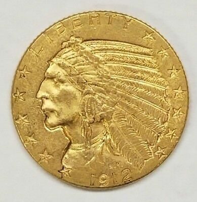 1912 Five Dollar Gold $5 Indian Head Eagle Coin Circulated