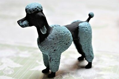 French Toy Poodle Dog Black And Blue Teal Encrusted Ceramic Figurine Statue