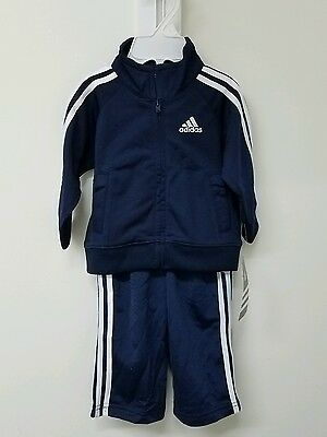 NWT ADIDAS FIREBIRD NAVY BLUE BABY TRACK SUIT TOP BOTTOM PANTS INFANT 6m