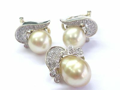 Fine South Seas Golden Pearl & Diamond YG Jewelry Set Earring / Pendnat .56Ct