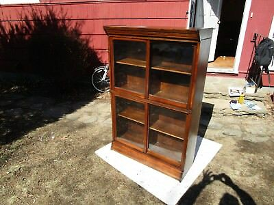 Antique C-1910 Signed Danners Tiger Oak Sliding Glass Door Sectional Bookcase
