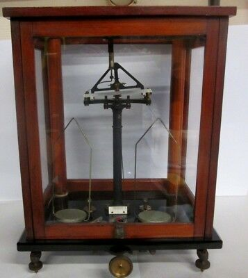 Fine Antique Assay Balance Scale W/polished Stone Base And Wood Case_ Estate Pc