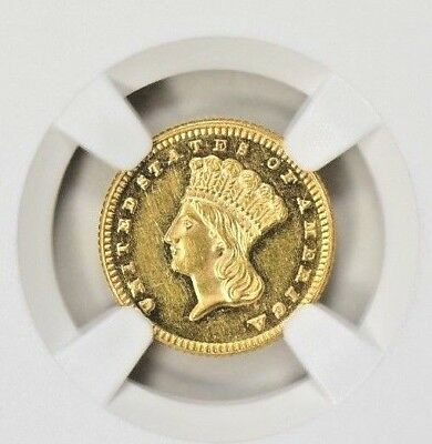 1872 $1 Type 2 Indian Princess Gold Dollar Ms61 Pl Ngc Certified