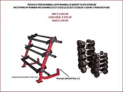 Dumbell Rack 3 Tiers + 6 Weight Plate Storage Pins + 220 Kg Rubber Hex Dumbbells
