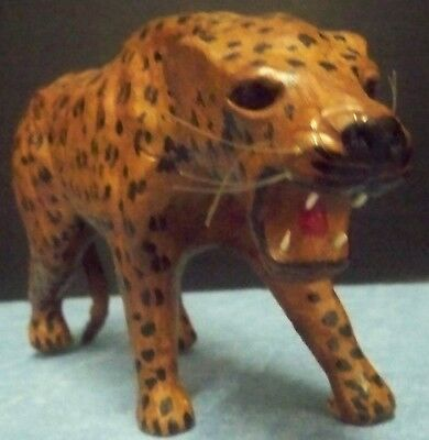 "Vintage Handmade Leather Covered Leopard Cheetah Figurine 11"" L x 6"" H Animal"