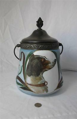 Jack Russell Terrier Dog Biscuit Cookie  Jar Art Nouveau c1900 Antique Tea Caddy
