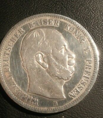 German States, Prussia, 1876B, 5 Mark Silver Coin.