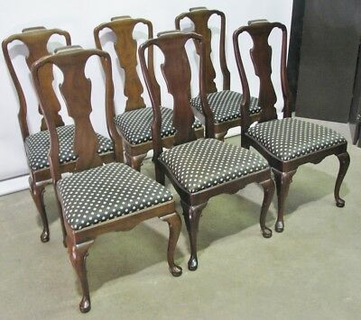 Set of 6 Vintage Mahogany Henredon Queen Anne Style Dining Chairs