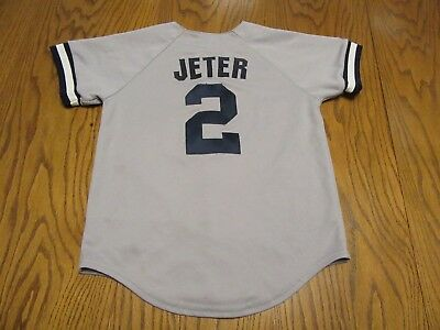 New York Yankees Derek Jeter #2 Sewn Logo Majestic Button Up Jersey-Youth Sm Ny